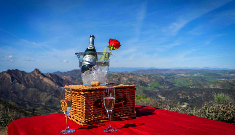 Private Helicopter Ride Los Angeles, Mountain Landing Champagne Picnic - 1.5 Hours