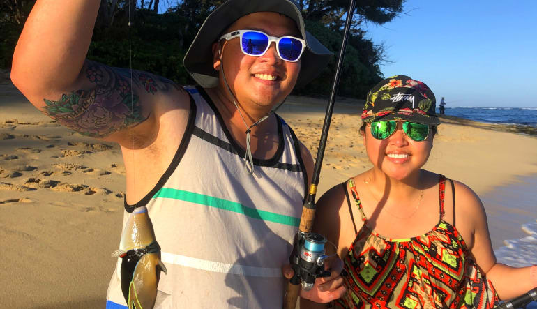 Shoreline Fishing Oahu Couple