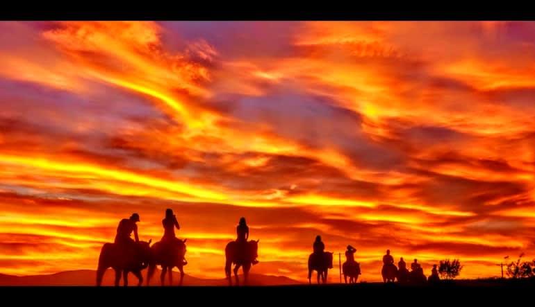 Wild West Horseback Riding Las Vegas Sun Setting