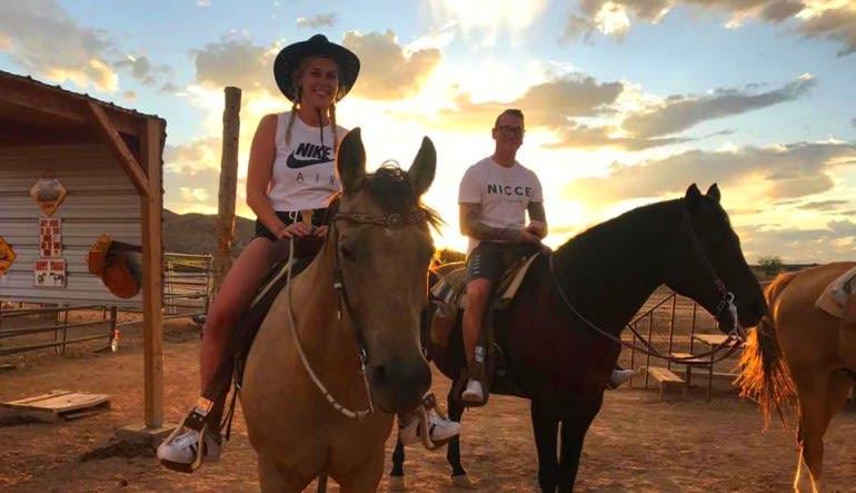 Wild West Horseback Riding Las Vegas Sunset Couple
