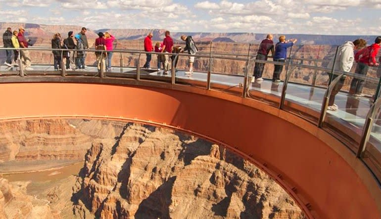 Motor Coach Bus Tour to Grand Canyon West Rim From Las Vegas With Helicopter Flight Sky Walk