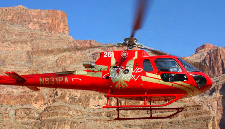 Motor Coach Bus Tour to Grand Canyon West Rim From Las Vegas With Helicopter Flight Aircraft
