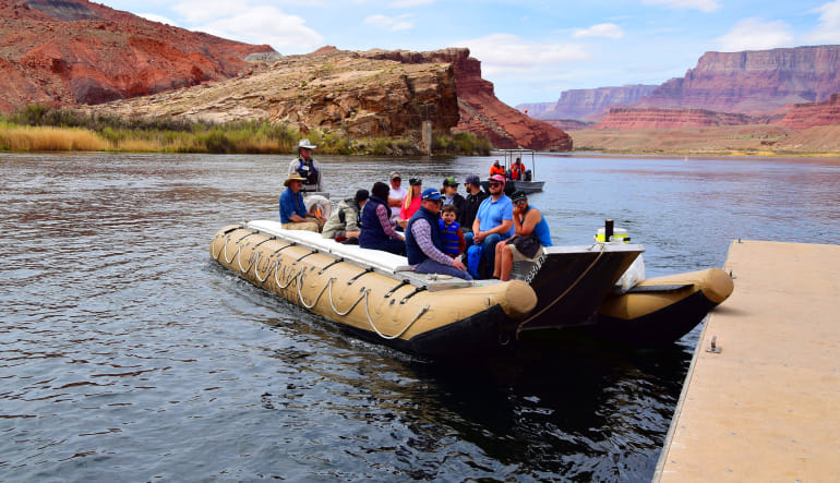 Scenic Canyon Flight and River Adventure Raft Boat