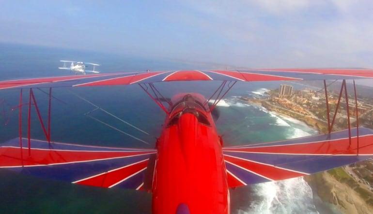 Biplane Formation Flight - San Diego Beach Run (Two Planes!)  Views