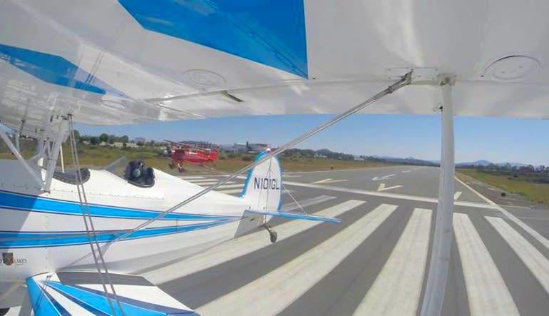 Biplane Formation Flight - San Diego Beach Run (Two Planes!)  Landing Strip