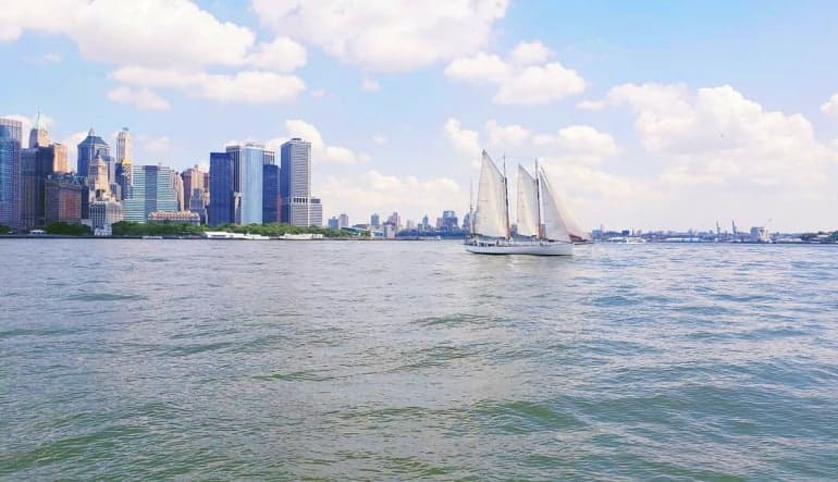 NYC Saturday Sail to Statue of Liberty - 2 Hours City Backdrop