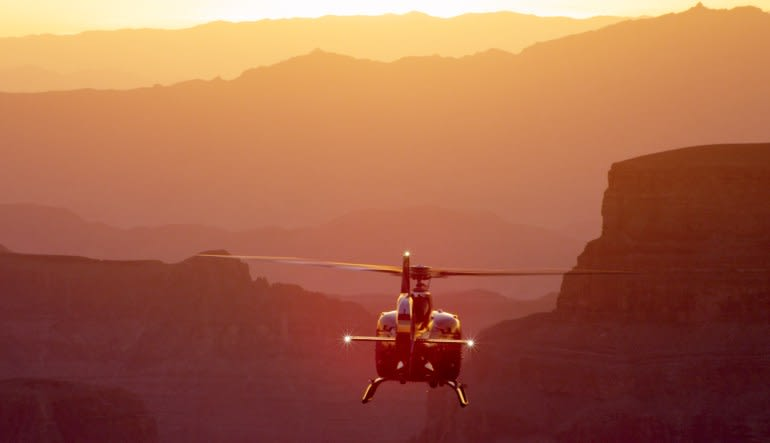 Sunset Grand Canyon Helicopter Tour with Canyon Landing and Picnic Sunset