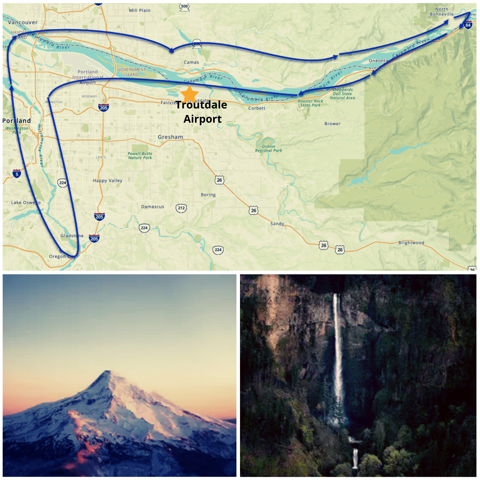 Scenic Plane Tour Portland, Downtown and Columbia River Gorge