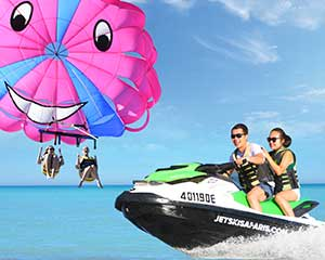 Gold Coast Tandem Parasail and 1 Hour Jet Ski Safari Combo - For 2