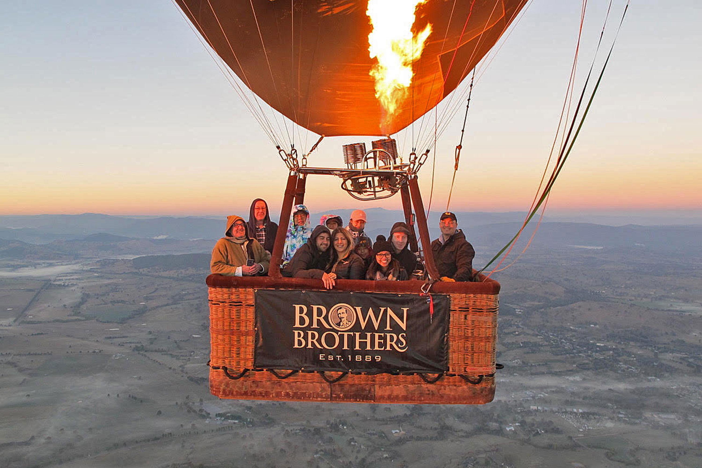Hot Air Balloon Flight at Sunrise, King Valley