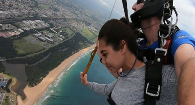 Skydiving over the beach - Wollongong