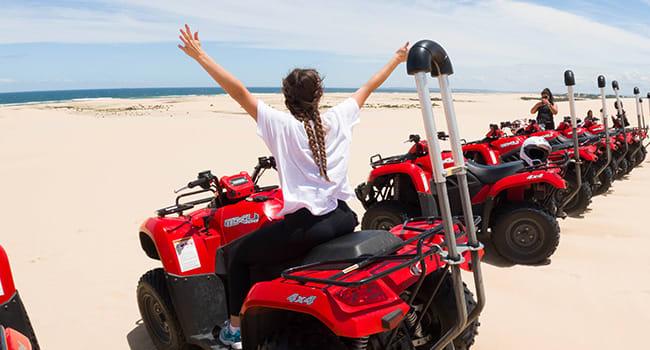 Sand dune quad bike adventure in Port Stephens