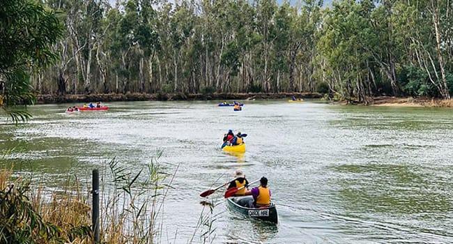 River kayaking and camping, Wyuna