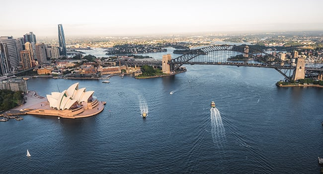 Private helicopter flight, Sydney Harbour