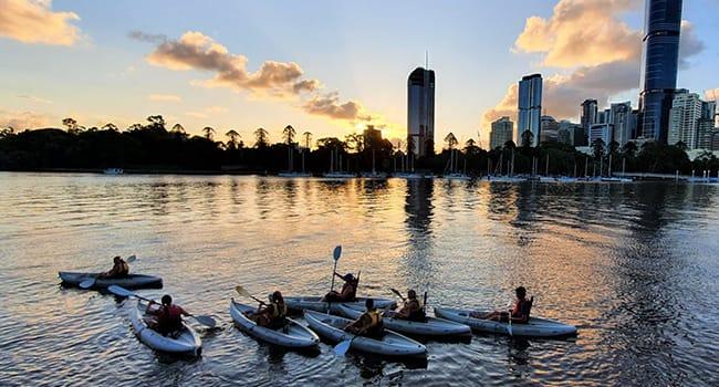 Guided night-time kayaking tour, Brisbane