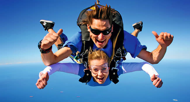 Skydiving over the beach, Wollongong