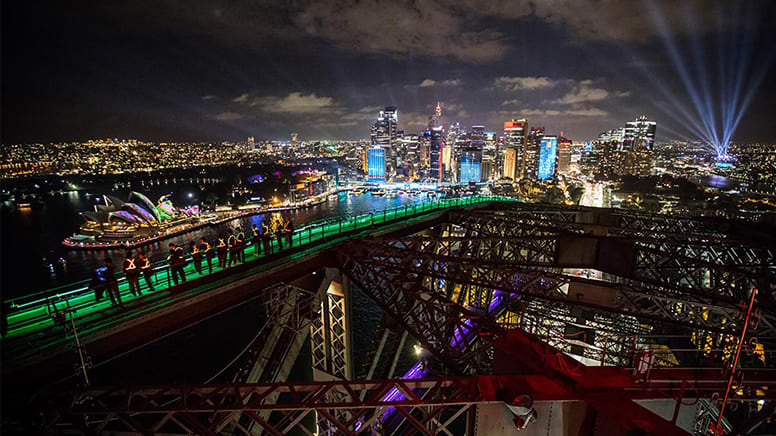 Sydney Harbour Bridge - VIVID Night Climb with Free Photo Frame