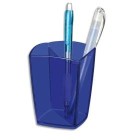 CEP Pot à crayons Happy Bleu électrique transparent, 2 compartiments. Diamètre 7,4 cm, H9,5 cm photo du produit