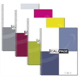 CALIPAGE Cahier spirale 21x29,7cm 100 pages grands carreaux 90g. Couverture carte assortie photo du produit