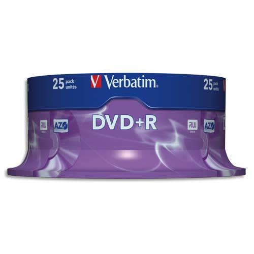 VERBATIM Tour de 25 DVD+R 4,7GB vitesse d'écriture 16x 43500 photo du produit Principale L