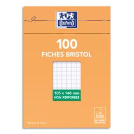 OXFORD Boîte distributrice 100 fiches bristol non perforées 105x148mm (A6) petits carreaux 5x5 Blanc photo du produit