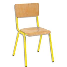 SODEMATUB Lot de 4 chaises scolaire Maxim, hêtre, Jaune, assise 37 x 39 cm, taille 5 photo du produit