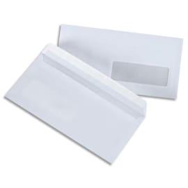 PERGAMY Boîte de 500 enveloppes Blanches 75g DL 110x220 mm fenêtre 35x100 mm auto-adhésives photo du produit