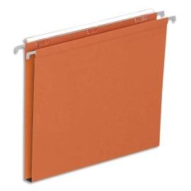 Boîte de 25 dossiers suspendus TIROIR en kraft 210g. Fond 15mm, volet agrafage. Orange. photo du produit