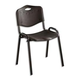Chaise collectivité Iso Plast assise et dossier en polypropylène Noir, structure en métal époxy Noir photo du produit