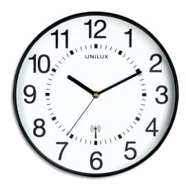 UNILUX Horloge Wave radio-piloté Noire, à pile AA non fournie, Diamètre 30,5 cm photo du produit