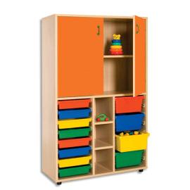 MOBEDUC Meuble haut L90 x H147 X P40 cm, 15 compartiments, 12 bacs, 2 portes poignée couleur Orange photo du produit