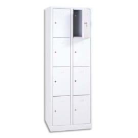 MT INTERNATIONAL Vestiaire 4 Cases 2 Colonnes en acier Blanc, L60 x H180 x P50 cm, case L22 x H40 x P47,5 photo du produit