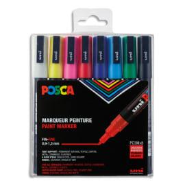 UNI POSCA Pochette 8 marqueurs peinture à eau, encre pigmentation assortie, pointe fine photo du produit