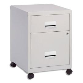 PIERRE HENRY Caisson Combi mobile 2 tiroirs dont 1 pour dossiers suspendus L40 x H57 x P40 cm Gris photo du produit
