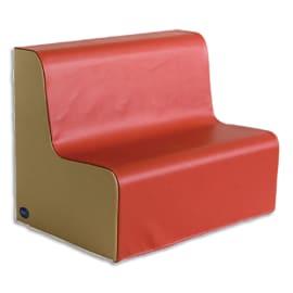SUMO Banquette en mousse 2 places, 80x52x60cm Rouge/ Beige photo du produit