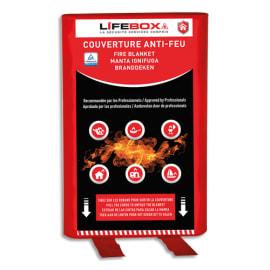 LIFEBOX Couverture anti feu Grise, étouffe le départ de flammes - Dimensions : L1,2 x H1,2 mètres photo du produit