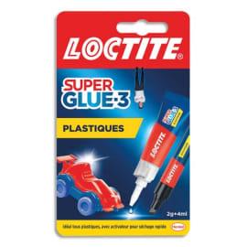 LOCTITE Colles Cyanoacrylates SUPERGLUE-3 Spécial Plastiques Tube 2g + Stylo 4ml photo du produit
