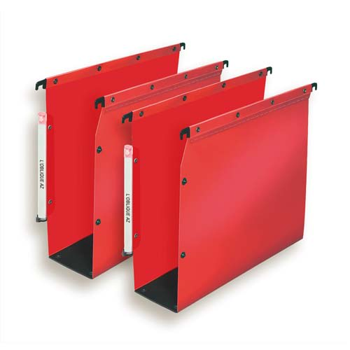 OBLIQUE AZ Paquet de 10 dossiers suspendus ARMOIRE en polypro opaque 5/10e.Fond 80, bouton-pression.Rouge photo du produit Principale L