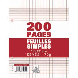 Sachet de 200 pages copies simples petit format 17x22 grands carreaux Séyès 70g perforées photo du produit
