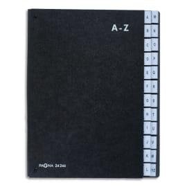 DURABLE Trieur alphabétique Noir int papier recyclé. 24 compartiments (A-Z). Format 26,5x34cm photo du produit
