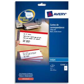 AVERY Pochette de 75 cartes de correspondance 210x99mm Quick&Clean 260g impression recto verso photo du produit