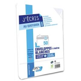 GPV Paquet de 50 enveloppes Blanches auto-adhésives 80 grammes format 162x229mm fenêtre 45x100 réf 529 photo du produit