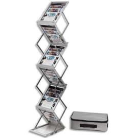 DEFLECTO Présentoir sur pied pliable aluminium avec malette de transport 6 niveaux pour A4 photo du produit