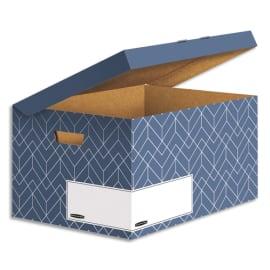 BANKERS BOX Conteneur archives HEAVY DUTY DESIGN. Montage manuel. Coloris bleu photo du produit