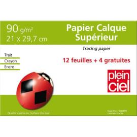 PLEIN CIEL Pochette de 12 feuilles+4 gratuites papier calque 90g format A4 - SPECIAL RDC. photo du produit