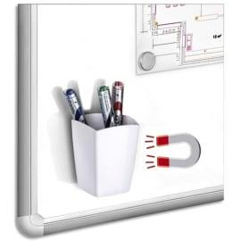 CEP Pot à crayons et feutres, magnétique, 2 compartiments, coloris Blanc. Dim L7,8 x H9,5 x P7,4 cm photo du produit