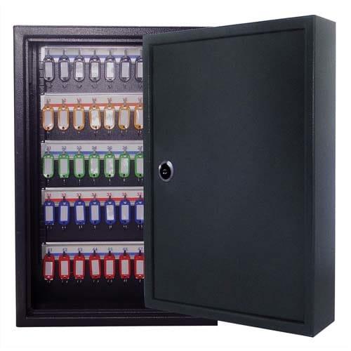 PAVO Armoire à clés 80 clés, serrure à clés 2 fournies - Dim : L45 x H38 x P8 cm coloris Gris foncé photo du produit Principale L