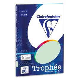 CLAIREFONTAINE Pochette de 100 feuilles papier couleur TROPHEE 80 grammes format A4. Coloris Vert photo du produit