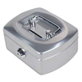 PAVO Caissette à monnaie 12,5cm fente d'insertion+6 compartiments internes Gris Argenté glossy 8007424 photo du produit