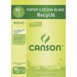 CANSON Bloc papier Dessin Blanc recyclé 50 feuilles A4 90g photo du produit